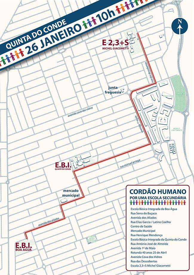 quinta do conde mapa Cordão Humano pela Escola Secundária na Quinta do Conde | CM Sesimbra quinta do conde mapa